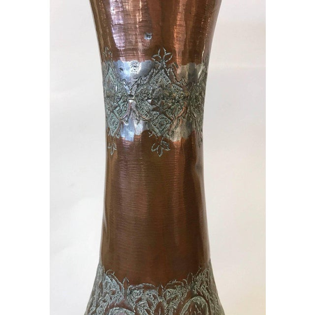 Brass Large Islamic Hammered Copper, Inlaid Brass and Silver Repousse Vase Urn For Sale - Image 7 of 8