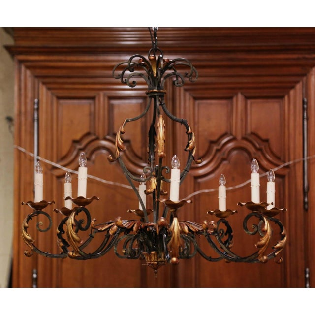 Early 20th Century French Louis XV Painted & Gilt Six-Light Iron Chandelier For Sale - Image 10 of 12