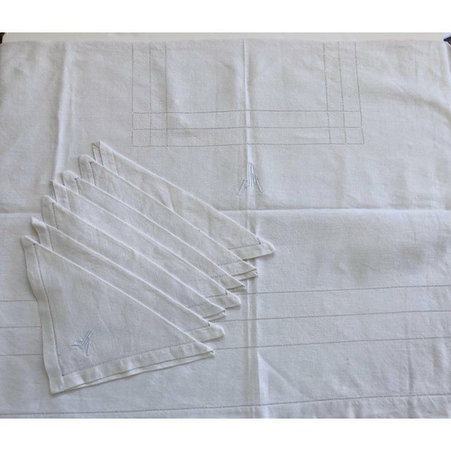Textile French Linen Tablecloth & Napkins - Set of 7 For Sale - Image 7 of 8