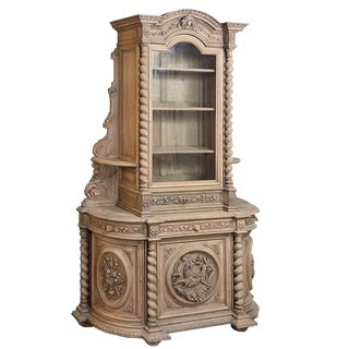 19th Century Renaissance Stripped Oak Hunt Bookcase For Sale