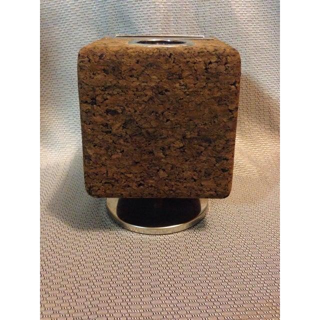 Chrome Vintage Cork Pencil and Stationary Holder For Sale - Image 7 of 7