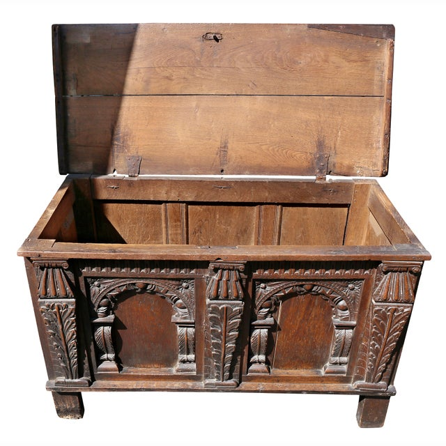 Charles II Oak Coffer For Sale - Image 4 of 12