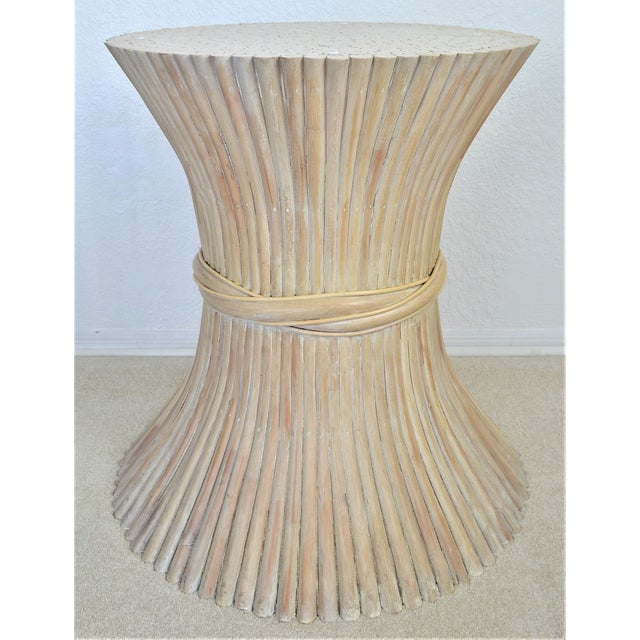McGuire Wheat Sheaf Bamboo Rattan Dining Table With Thick Round Glass Top Organic Mid Century Modern MCM Millennial For Sale - Image 5 of 11