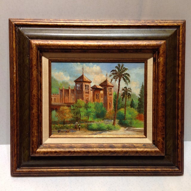 Offered is a vintage 1970s original oil painting signed by artist and framed in custom painted wood frame. Unframed...