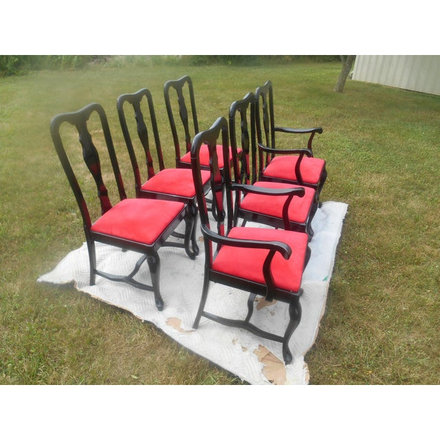 Sculptural Black Lacquer & Red Suede Italian Dining Chairs-Set of 6 For Sale - Image 6 of 9