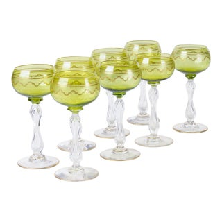 Late 19th Century Saint Louis Crystal Beethoven Chartreuse Gold Encrusted Stems. Wine Hocks - Set of 8, Wine Glasses For Sale