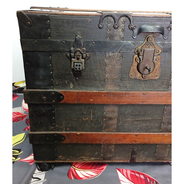 Antique Wood Steamer Trunk with Key - Image 4 of 10