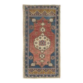 Vintage Hand Woven Turkish Yastik Rug - 1′10″ × 3′8″