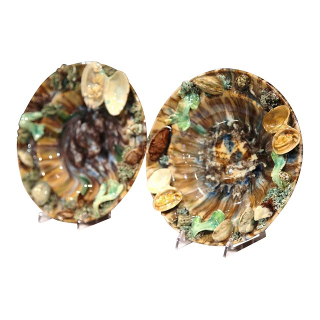 Early 20th Century Barbotine Wall Hanging Plates With Seashells - A Pair For Sale
