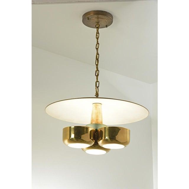 Gerald Thurston Ceiling Light for Lightolier USA, 1950's classic mid-century modern lighting Large brass reflecting canopy...