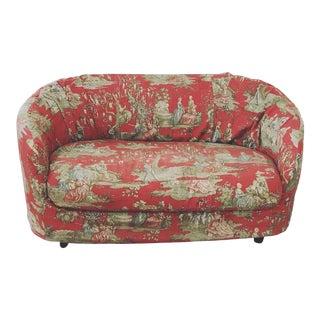 1980s Vintage Slipcovered Chinoiserie Toile Custom Loveseat Sofa For Sale