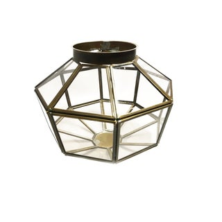 Vintage Mid Century Geometric Glass & Brass Ceiling Light Shade For Sale