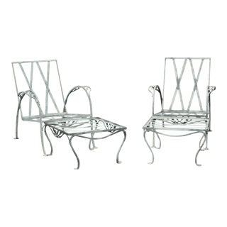 Salterini Vintage Wrought Iron Pair Patio Garden Lounge Chairs with Ottomans For Sale