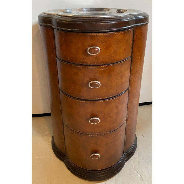 Brown Regency Style Cigar Table, Stitched Leather and Inlaid Tray Top Manner Lauren For Sale - Image 8 of 13