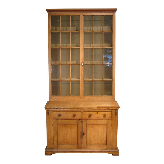 Antique 19th Century Pine Secretary Bookcase Desk For Sale