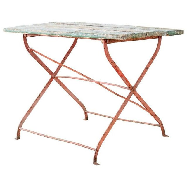 French Folding Iron Garden or Bistro Style Dining Table For Sale - Image 13 of 13