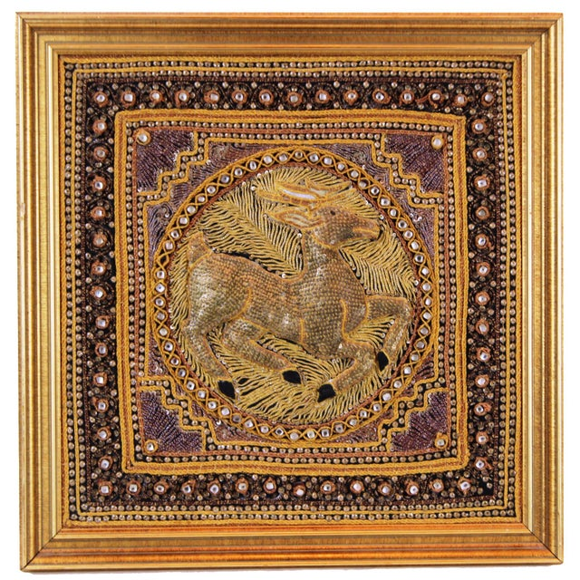 Art Deco Pasargad DC Hand Made India Beaded Gazelle Raised Wall Art - A Pair For Sale - Image 3 of 12