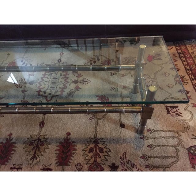 Chippendale 1970s Vintage Brass Faux Bamboo Chinese Chippendale Coffee Table For Sale - Image 3 of 7