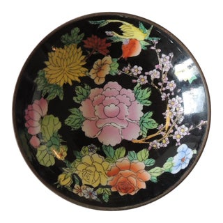 Vintage Imari Chinese Black and Yellow Decorative Plate For Sale