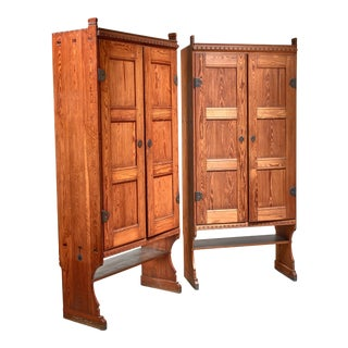 Martin Nyrop Pair of Pine Cabinets, Denmark, Early 20th Century For Sale