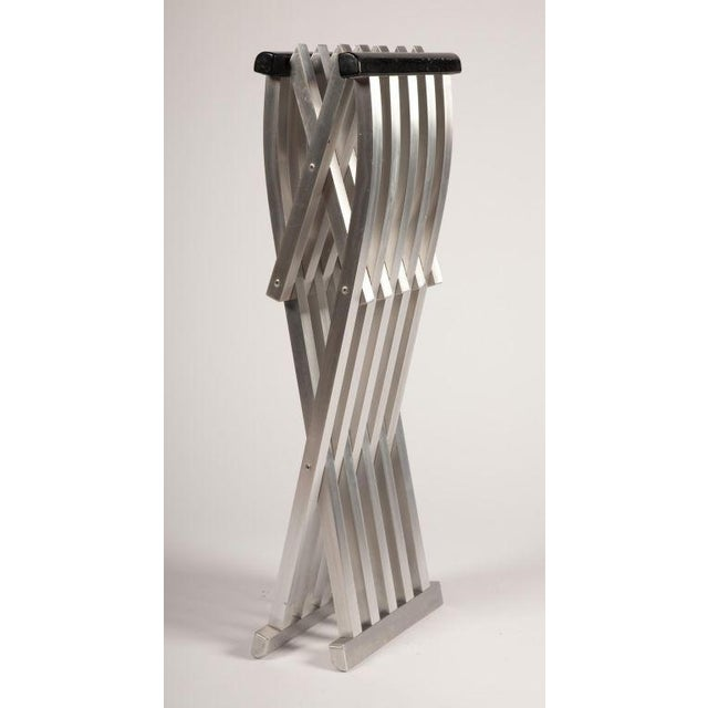 Mid-Century Modern Pair of Aluminum Folding Benches by John Vesey For Sale - Image 3 of 7