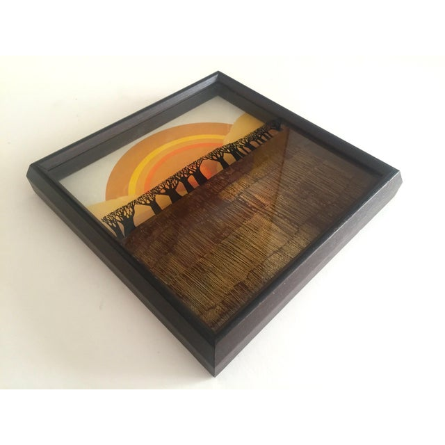 """1974 Vintage Modernist Virgil Thrasher """"Lucid Lines"""" Painted Glass 3d Shadow Box Art - 3 Piece Set For Sale In New York - Image 6 of 11"""