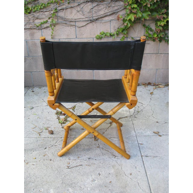 1960s Vintage Bamboo & Leather Folding Director's Chair For Sale - Image 4 of 11