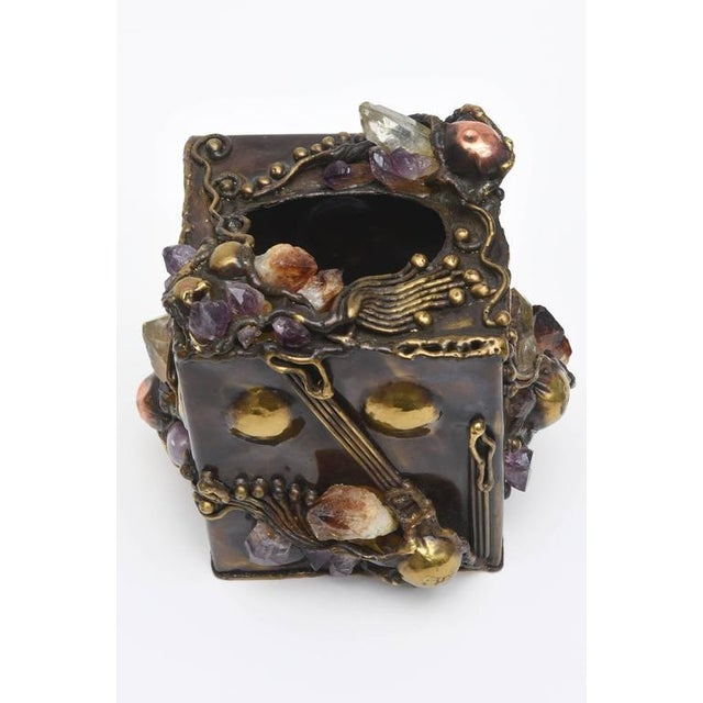 Brutalist Sculptural Mixed Metal and Amethyst, Quartz Tissue Box/ SAT.SALE - Image 2 of 10