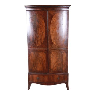 English Georgian Flame Mahogany Linen Press or Armoire Circa 1800 For Sale