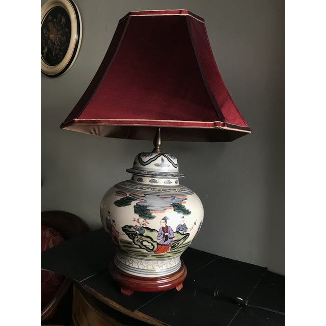 Antique Rare Chinoiserie Hand Painted Ginger Jar Lamp For Sale - Image 9 of 13