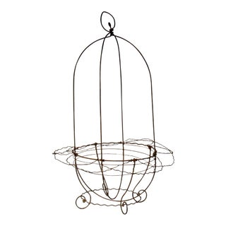 Antique French Wire Hanging Basket Planter For Sale