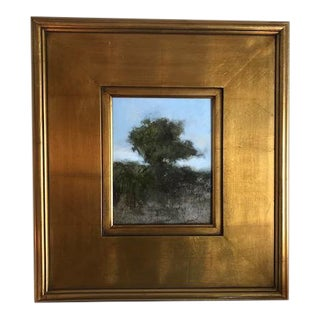 Original Abstract Oil Painting of a Tree in a Gold Wood Frame