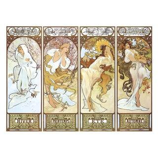 """Alphonse Mucha HIiver, Printemps, Ete, Automne 26.75"""" X 38.5"""" Poster 1994 Art Nouveau Multicolor, Brown, Yellow, White V For Sale"""
