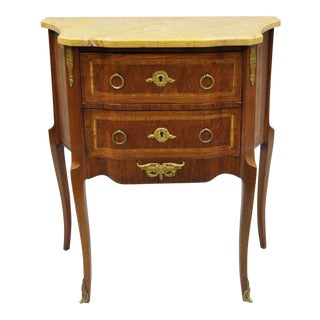French Louis XV Style Inlaid Marble Top Bombe Nightstand