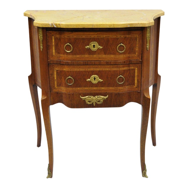 French Louis XV Style Inlaid Marble Top Bombe Nightstand For Sale