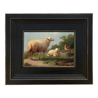"""Sheep in a Meadow Framed Oil Painting Reproduction Print on Canvas - 4"""" X 6"""" For Sale"""