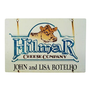 Vintage Jersey Cow Hilmar Dairy & Cheese Farm Sign For Sale