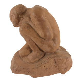 Signed Terra Cotta Statue by Eugene Bougouin For Sale