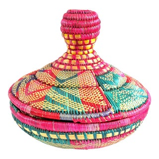 1970s South Western Hand Woven Colorful Basket With Lid