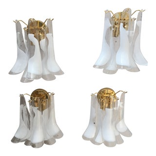 "Gold Frame and Clear and White Murano Glass ""Selle"" Wall Sconces - Set of 4 For Sale"