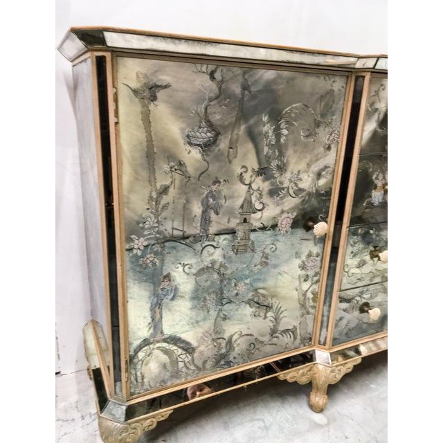 1950s Mirrored Chinoiserie Credenza - Image 4 of 10