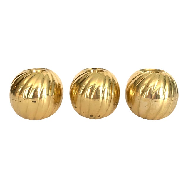 1970s Modern Brass Candle Holder - Set of 3 For Sale