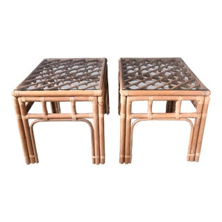 Boho Chic Rattan Bamboo Side Tables - a Pair