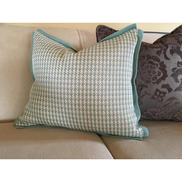 Green Aqua Houndstooth Pillow Covers - A Pair For Sale - Image 8 of 13