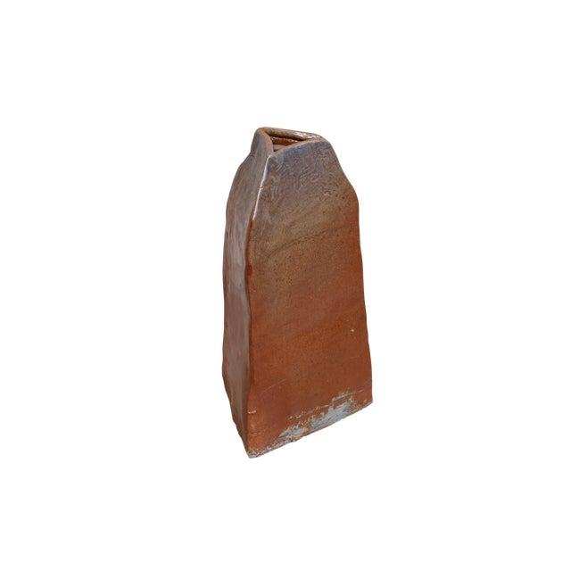 Southwestern Style Triangular Earthenware Vase For Sale