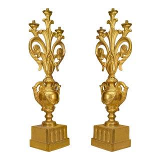 A Fine Italian Rococo Gilt Wood Candelabras - a Pair