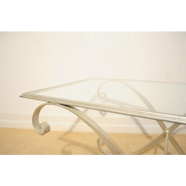 Hollywood Regency Vintage Hollywood Regency Neoclassical Silver Gilt Metal X Form Coffee Table For Sale - Image 3 of 10