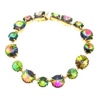 20th Century Gold Plate & Austrian Crystal Rivoli Watermelon Link Bracelet For Sale