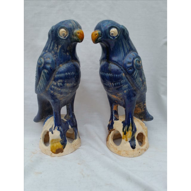 Vintage Blue Majolica Parrot Roof Finials - Pair - Image 2 of 5