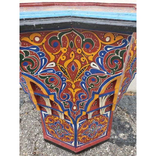 Moroccan Sm Ceuta 1 Painted and Carved Star Table, Multi-Color For Sale In Orlando - Image 6 of 8